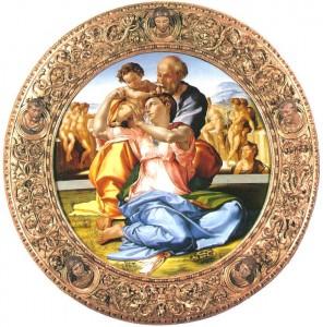 「聖家族と幼児洗礼者ヨハネ」ミケランジェロ